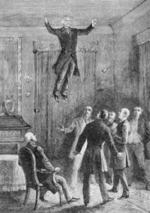 Daniel Dunglas Home, the famous Scots-born medium of the nineteeth century, levitates himself in front of witnesses in the home of Ward Cheney in South Manchester, Connecticut on August 8, 1852. This illustration was first published in 1887 in the book Les Mystères de la science (The Mysteries of Science) by French psychical researcher Louis Figuier.